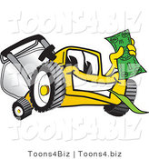 Vector Illustration of a Yellow Cartoon Lawn Mower Mascot Holding Cash by Toons4Biz