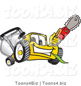 Vector Illustration of a Yellow Cartoon Lawn Mower Mascot Holding up a Saw by Toons4Biz