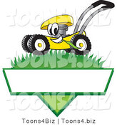 Vector Illustration of a Yellow Cartoon Lawn Mower Mascot Mowing Grass over a Blank White Label by Toons4Biz