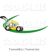 Vector Illustration of a Yellow Cartoon Lawn Mower Mascot on a Logo or Nametag with a Green Dash by Toons4Biz
