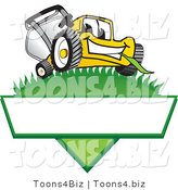 Vector Illustration of a Yellow Cartoon Lawn Mower Mascot on a Triangle Logo with a White Label by Toons4Biz