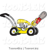 Vector Illustration of a Yellow Cartoon Lawn Mower Mascot Passing by and Carrying a Saw by Toons4Biz