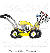 Vector Illustration of a Yellow Cartoon Lawn Mower Mascot Passing by and Carrying Gardening Tools by Toons4Biz