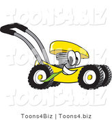 Vector Illustration of a Yellow Cartoon Lawn Mower Mascot Passing by and Chewing on Grass by Toons4Biz