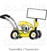 Vector Illustration of a Yellow Cartoon Lawn Mower Mascot Passing by and Holding a Blank Sign by Toons4Biz