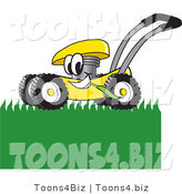 Vector Illustration of a Yellow Cartoon Lawn Mower Mascot Passing by and Mowing Grass by Toons4Biz