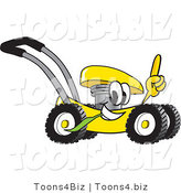 Vector Illustration of a Yellow Cartoon Lawn Mower Mascot Passing by and Pointing Upwards by Toons4Biz