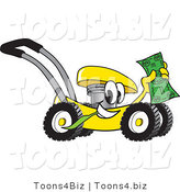 Vector Illustration of a Yellow Cartoon Lawn Mower Mascot Passing by and Waving Cash in the Air by Toons4Biz