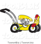 Vector Illustration of a Yellow Cartoon Lawn Mower Mascot Passing by with a Red Telephone by Toons4Biz