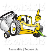 Vector Illustration of a Yellow Cartoon Lawn Mower Mascot Pointing Upwards by Toons4Biz