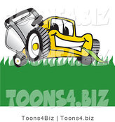 Vector Illustration of a Yellow Cartoon Lawn Mower Mascot Smiling and Chewing on Grass by Toons4Biz
