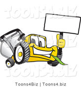 Vector Illustration of a Yellow Cartoon Lawn Mower Mascot Waving a Blank Sign by Toons4Biz