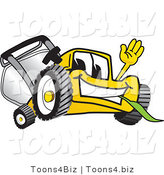 Vector Illustration of a Yellow Cartoon Lawn Mower Mascot Waving and Eating Grass by Toons4Biz