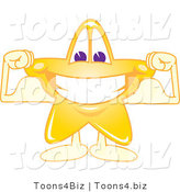 Vector Illustration of a Yellow Cartoon Star Mascot Grinning and Flexing by Toons4Biz