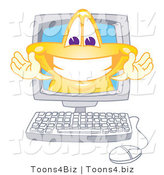 Vector Illustration of a Yellow Cartoon Star Mascot Grinning on a Computer Screen by Toons4Biz