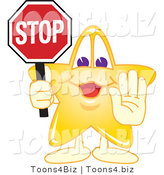 Vector Illustration of a Yellow Cartoon Star Mascot Holdin a Stop Sign by Toons4Biz