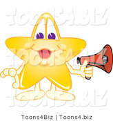Vector Illustration of a Yellow Cartoon Star Mascot Holding a Megaphone by Toons4Biz