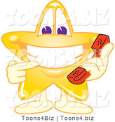 Vector Illustration of a Yellow Cartoon Star Mascot Holding a Phone by Toons4Biz