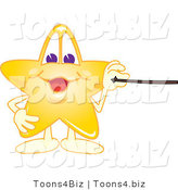 Vector Illustration of a Yellow Cartoon Star Mascot Holding a Pointer Stick by Toons4Biz