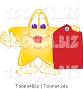 Vector Illustration of a Yellow Cartoon Star Mascot Holding a Red Price Tag by Toons4Biz