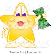 Vector Illustration of a Yellow Cartoon Star Mascot Holding Cash by Toons4Biz