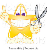Vector Illustration of a Yellow Cartoon Star Mascot Holding Scissors by Toons4Biz
