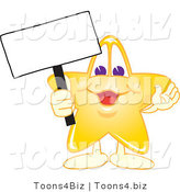 Vector Illustration of a Yellow Cartoon Star Mascot Holding up a Blank Sign by Toons4Biz