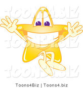 Vector Illustration of a Yellow Cartoon Star Mascot Jumping by Toons4Biz