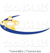 Vector Illustration of a Yellow Cartoon Star Mascot Logo over a Blue Dash by Toons4Biz
