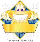 Vector Illustration of a Yellow Cartoon Star Mascot Logo over a Blue Diamond and Blank Gold Banner by Toons4Biz