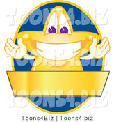 Vector Illustration of a Yellow Cartoon Star Mascot Logo over a Blue Oval and Blank Gold Banner by Toons4Biz