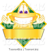 Vector Illustration of a Yellow Cartoon Star Mascot Logo over a Green Diamond and Blank Gold Banner by Toons4Biz