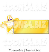 Vector Illustration of a Yellow Cartoon Star Mascot Logo over with a Blank Gold Plaque by Toons4Biz