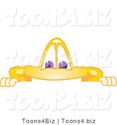 Vector Illustration of a Yellow Cartoon Star Mascot Looking over a Blank Sign by Toons4Biz