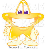 Vector Illustration of a Yellow Cartoon Star Mascot Pointing Outwards by Toons4Biz