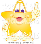 Vector Illustration of a Yellow Cartoon Star Mascot Pointing Upwards by Toons4Biz