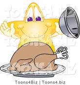 Vector Illustration of a Yellow Cartoon Star Mascot Serving a Thanksgiving Turkey by Toons4Biz