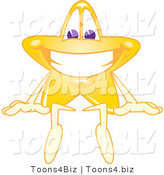 Vector Illustration of a Yellow Cartoon Star Mascot Sitting on Top of a Blank Sign by Toons4Biz