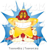 Vector Illustration of a Yellow Cartoon Star Mascot Super Hero by Toons4Biz