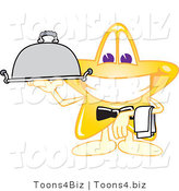Vector Illustration of a Yellow Cartoon Star Mascot Waiter Serving a Platter by Toons4Biz