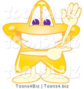 Vector Illustration of a Yellow Cartoon Star Mascot Waving and Pointing by Toons4Biz