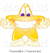 Vector Illustration of a Yellow Cartoon Star Mascot Welcoming by Toons4Biz