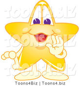 Vector Illustration of a Yellow Cartoon Star Mascot Whispering by Toons4Biz