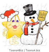 Vector Illustration of a Yellow Cartoon Star Mascot with a Snowman by Toons4Biz