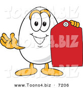 Vector Illustration of an Egg Mascot Holding a Sales Tag by Toons4Biz