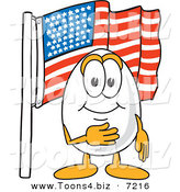 Vector Illustration of an Egg Mascot Pledging Allegiance to the American Flag by Toons4Biz