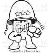 Vector Illustration of an Outlined Cartoon Character Army General Shouting and Pointing by Toons4Biz