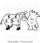 Vector Illustration of an Outlined Cartoon CharacterPetting Cash Cow with Dollar Signs by Toons4Biz