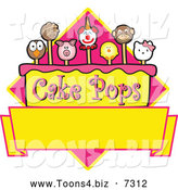 November 12nd, 2013: Vector Illustration of Animal Cake Pops Design with Blank Copyspace by Toons4Biz