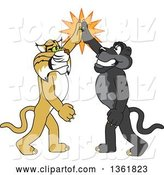 Vector Illustration of Black Panther and Bobcat School Mascots High Fiving, Symbolizing Teamwork and Sportsmanship by Toons4Biz